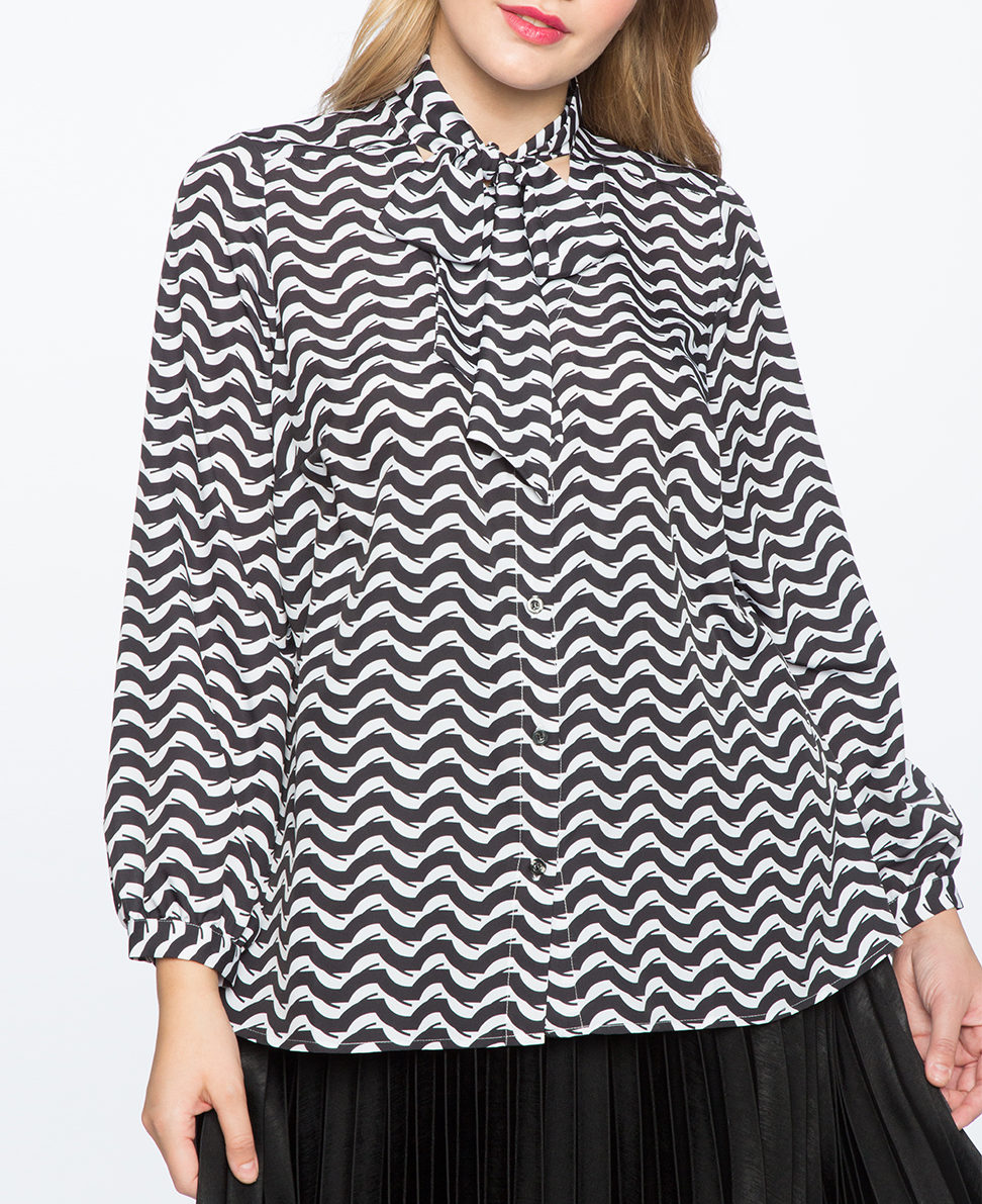 eloquii contrast bow blouse